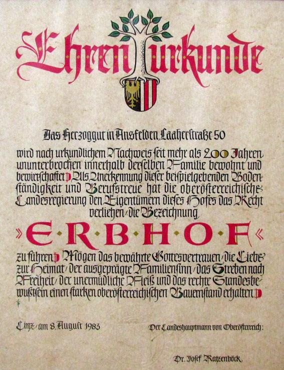 Erbhofurkunde 1989 - Herzog zu Laah